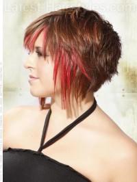 czerwone pasemka, cieniowane włosy