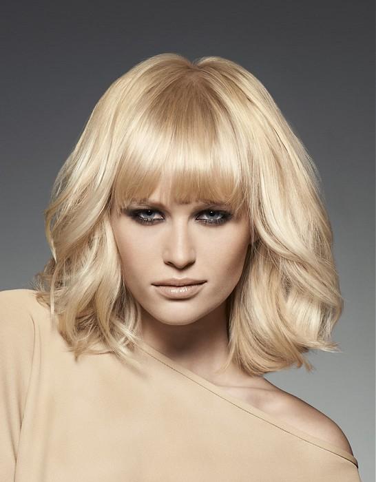 blond perłowy, włosy z grzywką