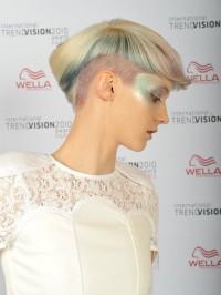 zielone włosy, asymetryczna fryzura