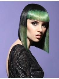 zielone włosy, fryzura z grzywką