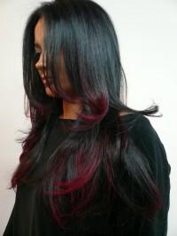 ombre, czarne długie włosy