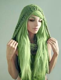 długie zielone włosy