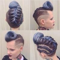 rockowa fryzura z warkoczem