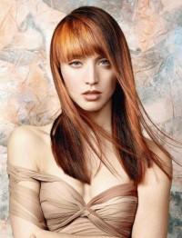 długie rude włosy z grzywką