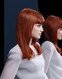 lśniące proste włosy w kolorze naturalnej rudości