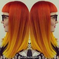 rude włosy z żółtym ombre
