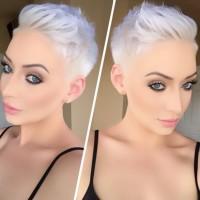 bardzo krótkie włosy blond, platynowy blond