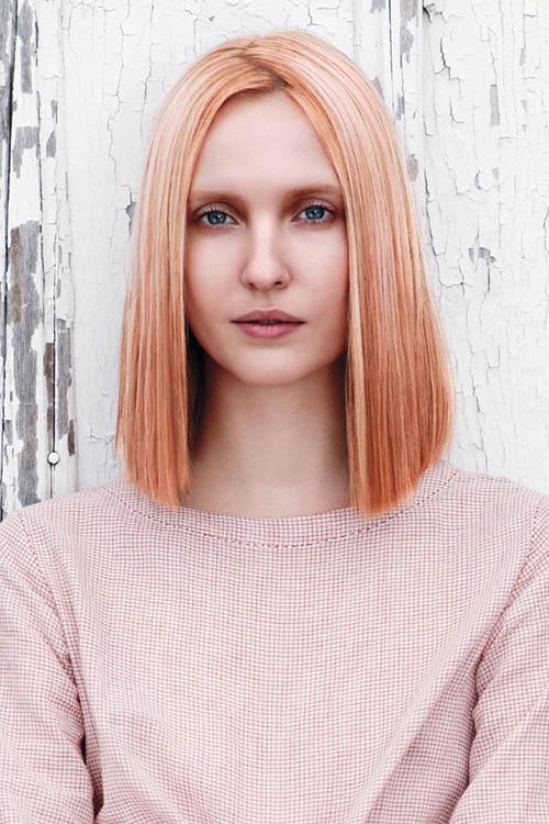 długi bob, truskawkowy blond