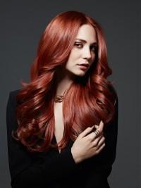 piękne lśniące rude długie włosy