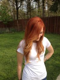 Długie rude włosy z ombre , rudy blond