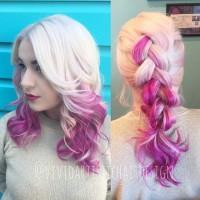 różowe ombre, blond z różem na włosach
