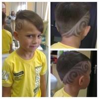 fryzura dla chłopca, wygolone wzory