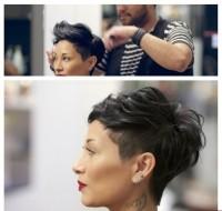 ekstra krótka fryzurka dla ciemnych włosów