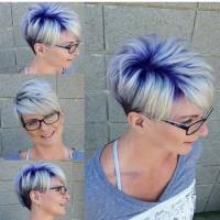 blond plus fiolet krótkie włosy