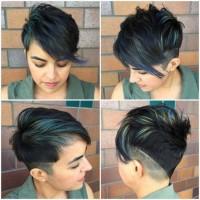krótka fryzura, zielone pasemka