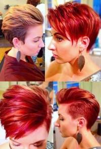 damski irokez, czerwone krótkie włosy